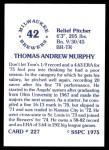 1976 SSPC #227  Tom Murphy  Back Thumbnail