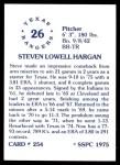 1976 SSPC #254  Steve Hargan  Back Thumbnail
