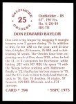 1976 SSPC #394  Don Baylor  Back Thumbnail