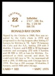 1976 SSPC #322  Ron Dunn  Back Thumbnail