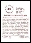 1976 SSPC #362  Leon Roberts  Back Thumbnail