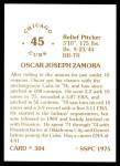 1976 SSPC #304  Oscar Zamora  Back Thumbnail