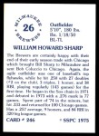 1976 SSPC #246  Bill Sharp  Back Thumbnail