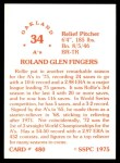 1976 SSPC #480  Rollie Fingers  Back Thumbnail