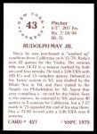1976 SSPC #427  Rudy May  Back Thumbnail