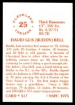 1976 SSPC #517  Buddy Bell  Back Thumbnail