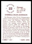 1976 SSPC #417  Darrell Johnson  Back Thumbnail