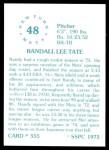 1976 SSPC #555  Randy Tate  Back Thumbnail
