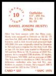1976 SSPC #537  Rusty Staub  Back Thumbnail