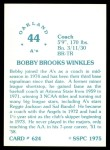 1976 SSPC #624  Bobby Winkles  Back Thumbnail