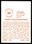 1976 SSPC #530  Tommy Smith  Back Thumbnail