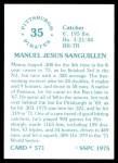 1976 SSPC #571  Manny Sanguillen  Back Thumbnail