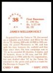 1976 SSPC #498  Jim Holt  Back Thumbnail