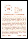 1976 SSPC #482  Ken Holtzman  Back Thumbnail