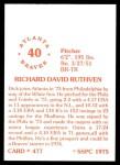 1976 SSPC #477  Dick Ruthven  Back Thumbnail