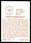 1976 SSPC #521  Frank Duffy  Back Thumbnail