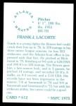 1976 SSPC #612  Frank LaCorte  Back Thumbnail