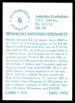 1976 SSPC #575  Rennie Stennett  Back Thumbnail