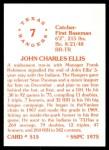 1976 SSPC #515  John Ellis  Back Thumbnail