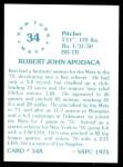1976 SSPC #548  Bob Apodaca  Back Thumbnail