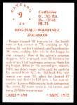 1976 SSPC #494  Reggie Jackson  Back Thumbnail