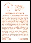 1976 SSPC #503  Angel Mangual  Back Thumbnail