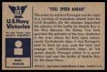 1954 Bowman U.S. Navy Victories #14   Full Speed Ahead Back Thumbnail