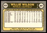 1981 Fleer #653 COR Willie Wilson  Back Thumbnail