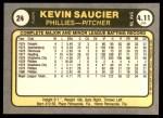 1981 Fleer #24 KEV Kevin Saucier  Back Thumbnail