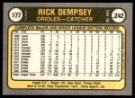 1981 Fleer #177 xHAND Rick Dempsey  Back Thumbnail