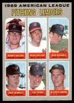 1970 O-Pee-Chee #70   -  Dave Boswell / Mike Cuellar / Dennis McLain / Dave McNally / Jim Perry / Mel Stottlemyre AL Pitching Leaders Front Thumbnail