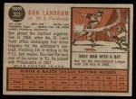 1962 Topps #323  Don Landrum  Back Thumbnail