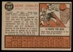1962 Topps #187 GRN Gene Conley  Back Thumbnail