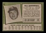 1971 Topps #85 RED Billy Grabarkewitz  Back Thumbnail