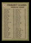 1971 Topps #71   -  Bob Johnson / Mickey Lolich / Sam McDowell AL Strikeout Leaders Back Thumbnail