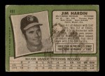 1971 Topps #491  Jim Hardin  Back Thumbnail