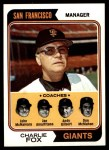 1974 Topps #78   -  Charlie Fox / Joe Amalfitano / Andy Gilbert / Don McMahon / John McNamara Giants Leaders Front Thumbnail