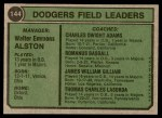 1974 Topps #144   -  Walter Alston / Red Adams / Monty Basgall / Jim Gilliam / Tommy Lasorda Dodgers Leaders   Back Thumbnail
