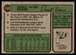 1974 Topps #140  Darrell Evans  Back Thumbnail