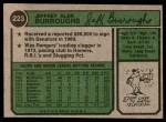 1974 Topps #223  Jeff Burroughs  Back Thumbnail