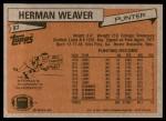 1981 Topps #87  Herman Weaver  Back Thumbnail