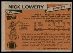 1981 Topps #213  Nick Lowery  Back Thumbnail
