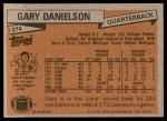 1981 Topps #274  Gary Danielson  Back Thumbnail