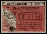 1980 Topps #308  Gary Barbaro  Back Thumbnail