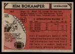 1980 Topps #361  Kim Bokamper  Back Thumbnail