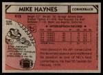 1980 Topps #415  Mike Haynes  Back Thumbnail