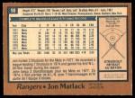 1978 O-Pee-Chee #98  Jon Matlack   Back Thumbnail