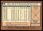 1978 O-Pee-Chee #50  Johnny Bench  Back Thumbnail
