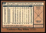 1978 O-Pee-Chee #48  Roy White  Back Thumbnail