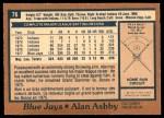 1978 O-Pee-Chee #76  Alan Ashby  Back Thumbnail